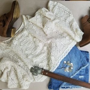 Flying Tomato Ivory Lace Crochet Poncho, Small